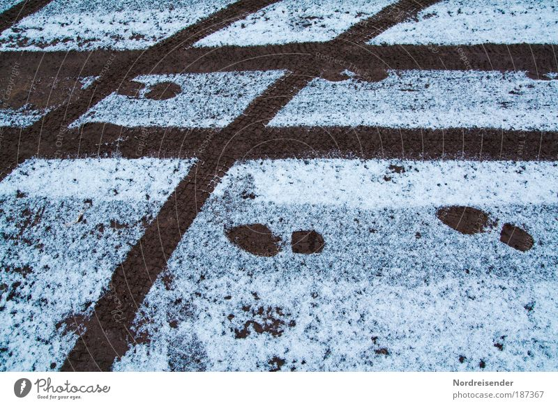 footprints Overweight Life Hiking Driving school Environment Nature Earth Winter Climate Bad weather Ice Frost Snow Transport Traffic infrastructure Motoring
