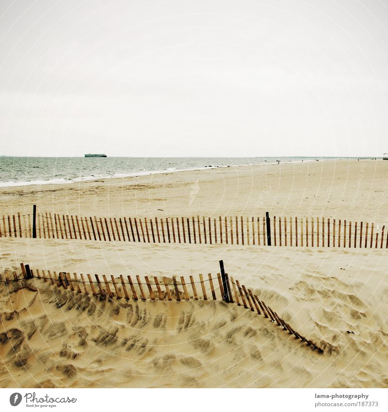beachside Nature Landscape Sand Climate Climate change Bad weather Beach Ocean New York City Long Island Coney Island Deserted Far-off places Bright Longing