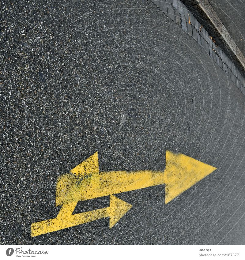 doubles Style Transport Traffic infrastructure Motoring Street Lanes & trails Sign Signs and labeling Line Arrow Driving Simple Uniqueness Yellow Gray