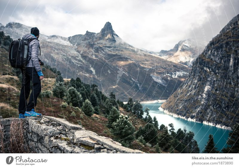 What a view! Senses Vacation & Travel Tourism Trip Adventure Far-off places Freedom Mountain Hiking Climbing Mountaineering Masculine Man Adults Life Landscape