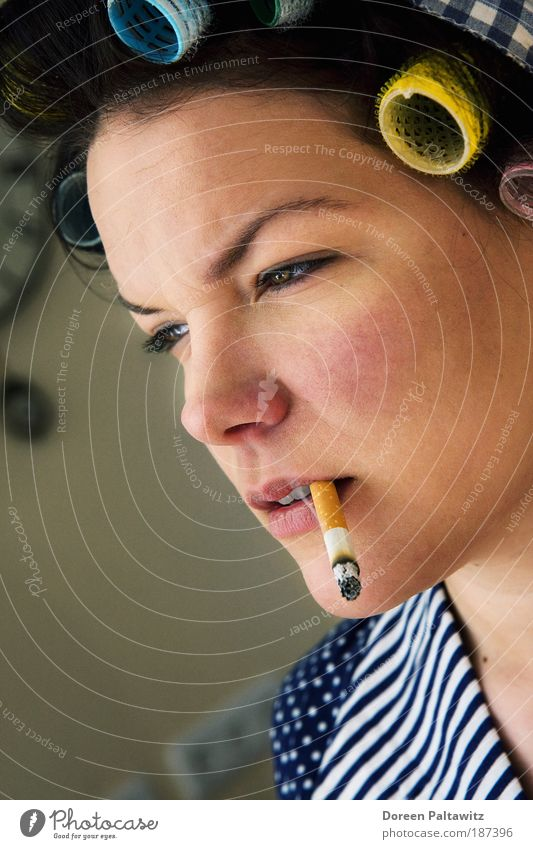 Smoking woman with curlers in her hair Hair and hairstyles Services Human being Feminine Skin Head Face Eyes Nose Mouth Lips Teeth 1 18 - 30 years