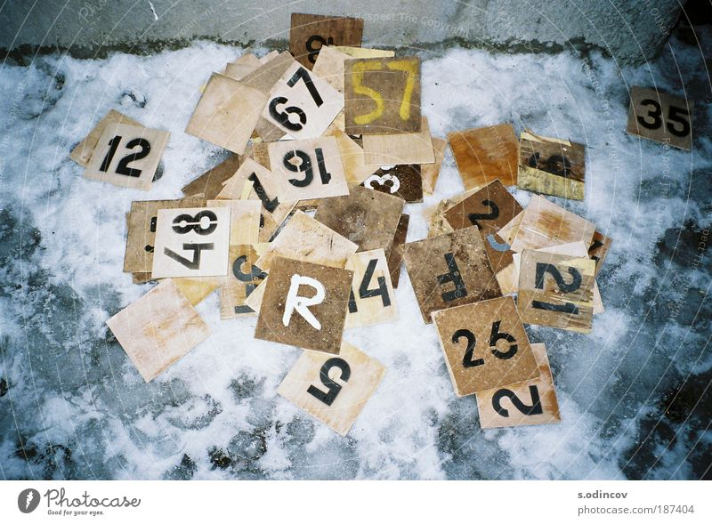 Numbers Board game Piece of paper Wood Sign Characters Digits and numbers Make Trashy Brown Yellow Gray Black White Chaos Colour photo Experimental Abstract