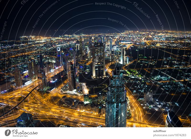 Town Far-off places Street Exceptional City life Glittering High-rise Street lighting Skyline Capital city Bank building Downtown Glamor Dubai Night shot Capitalism
