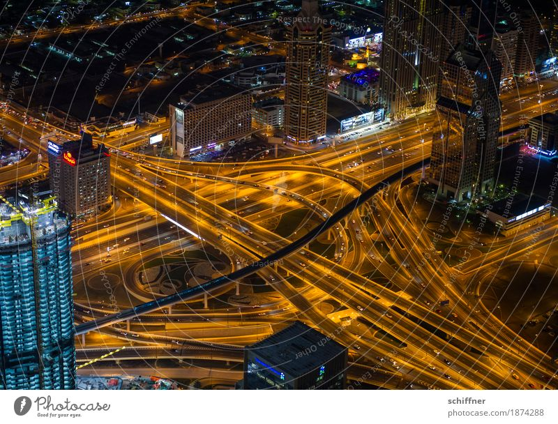 Dark Street Transport Glittering Gold High-rise Bridge Street lighting Skyline Capital city Downtown Traffic infrastructure Highway Tunnel Muddled Crossroads