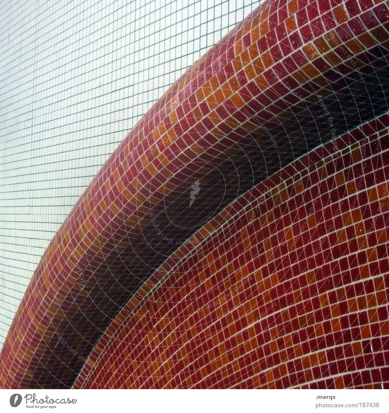 bent Elegant Style Design Wall (barrier) Wall (building) Line Exceptional Sharp-edged Simple Round Red White Tile Curve Illustration Mosaic Subdued colour