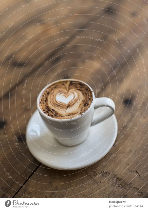 foam heart To have a coffee Coffee Cup Wood Delicious Brown White Cappuccino Coffee froth cocoa powder Heart Saucer Wooden table Rustic Coffee cup Coffee break