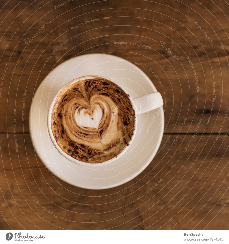coffee kitsch To have a coffee Beverage Hot drink Coffee Cup Restaurant Drinking Wood Heart Brown Saucer Cappuccino Coffee froth Heart-shaped Kitsch