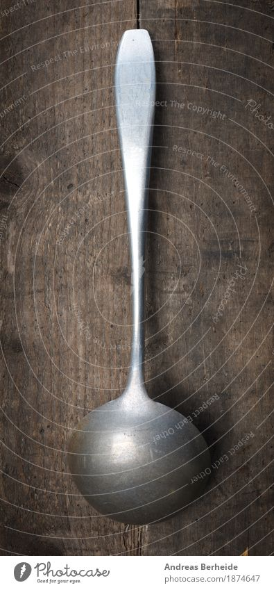 Old soup ladle Spoon Cook Retro old metal kitchen Background picture Equipment food Vintage steel object cooking domestic wooden tool Things copy space