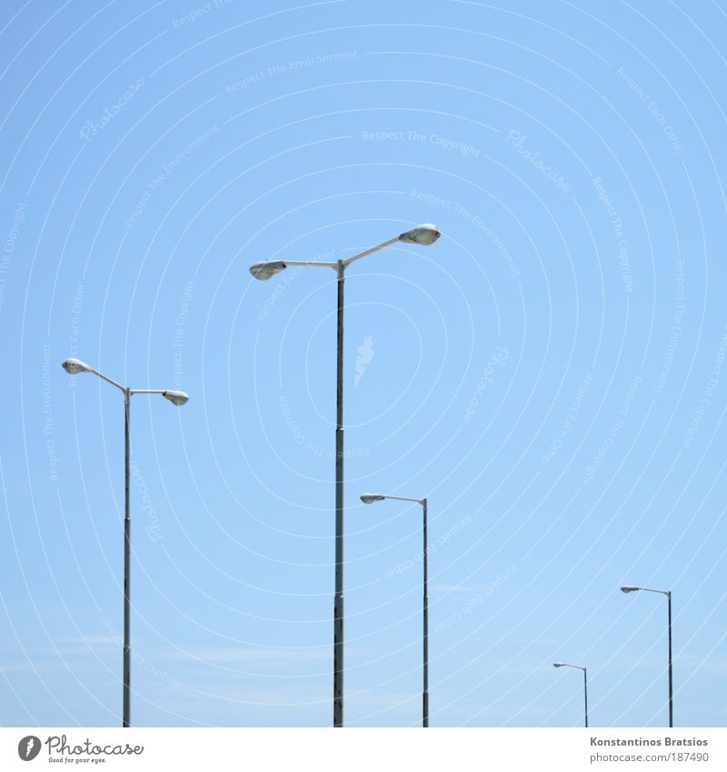 Sky Blue Summer Clouds Colour Metal Bright Energy industry Lantern Beautiful weather Street lighting Performance