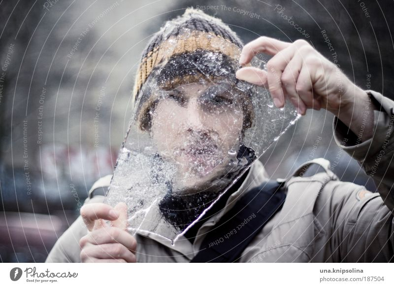 ice age Winter Masculine Young man Youth (Young adults) Man Adults Face Hand Fingers 1 Human being 18 - 30 years Water Climate Weather Ice Frost Snow Cap