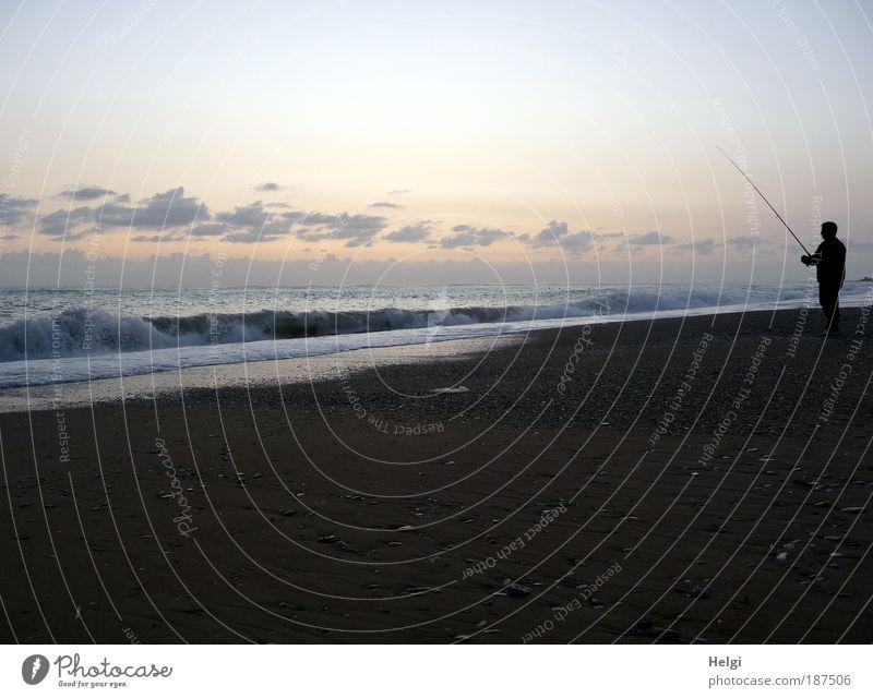 Human being Man Nature Blue Water Ocean Beach Clouds Calm Adults Relaxation Yellow Autumn Environment Landscape Sand