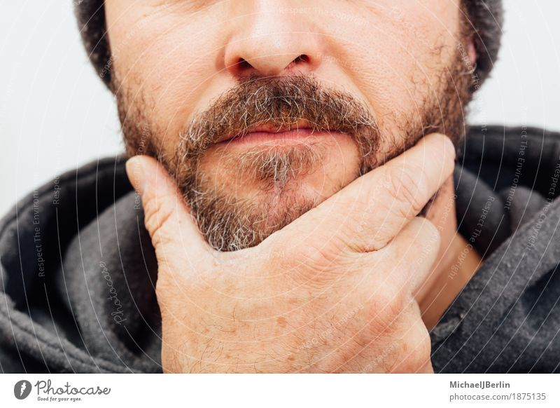 Man with beard, contemplative pose, anonymously trimmed Human being Masculine Adults Hand 1 30 - 45 years Idea Facial hair Meditative think Anonymous Posture