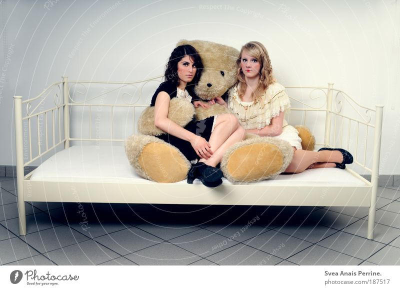 Back then. Feminine Young woman Youth (Young adults) 2 Human being Sit Exceptional Thin Bright Cold Emotions Purity Elegant Uniqueness Luxury Teddy bear Bed