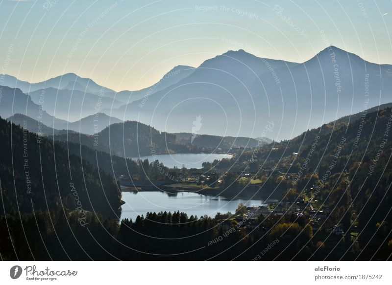 Lakes and mountains Vacation & Travel Adventure Freedom Sightseeing Mountain Hiking Environment Nature Landscape Water Cloudless sky Autumn Fog Forest Alps