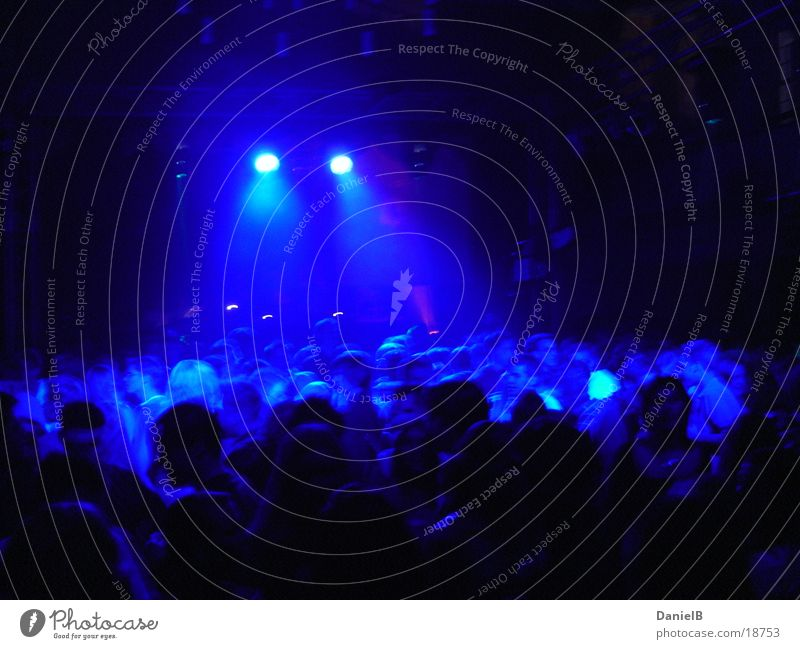 Party in Blue Disco Club Dance Lighting Joy Feasts & Celebrations Movement Party goer Group Flare Lighting element Many Narrow Dark Night life