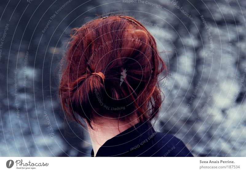 dive into the sky. Feminine Young woman Youth (Young adults) 1 Human being Autumn Jacket Red-haired Braids To enjoy Looking Wait Authentic Far-off places Free