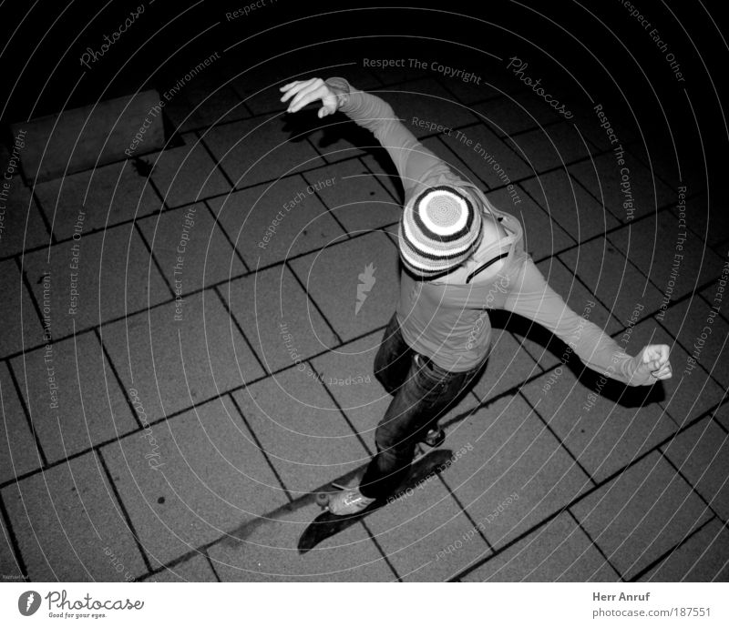 night flight Skateboard Feminine Young woman Youth (Young adults) 1 Human being Flying Gray Black White Black & white photo Night Flash photo Bird's-eye view