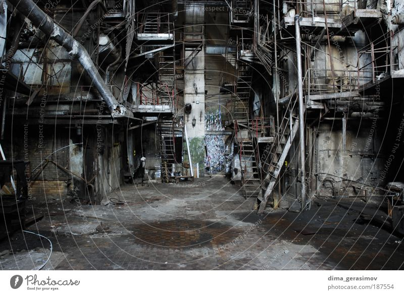 Industrial Technology Industrial plant Factory Stress Apocalyptic sentiment Colour photo Interior shot Central perspective Architecture