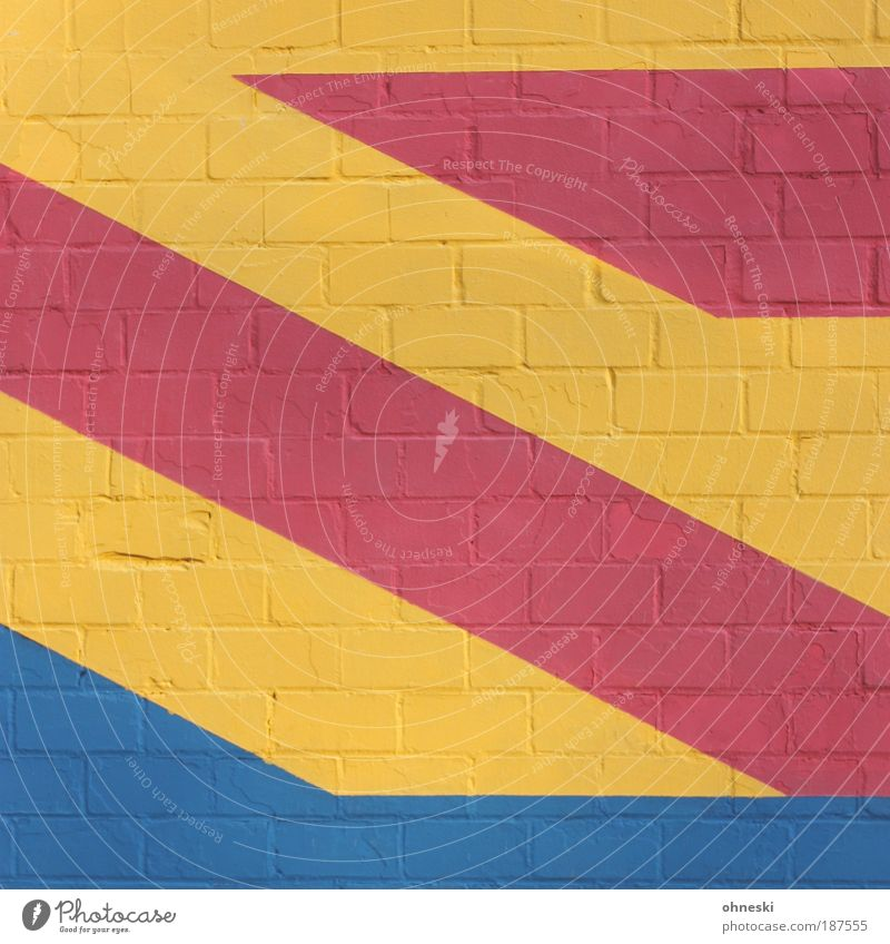 Blue Red House (Residential Structure) Yellow Wall (building) Stone Wall (barrier) Building Architecture Facade Painting (action, work) Manmade structures