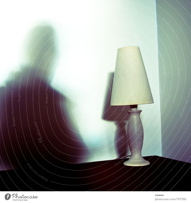 shadow man Man Adults Shadow Shadow play Lamp Standard lamp Table Corner Ghosts & Spectres  Silhouette Lampshade Colour photo Subdued colour Interior shot