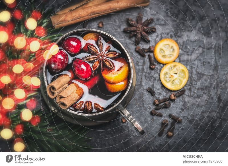 Cup with mulled wine, spices and bokeh lighting Food Fruit Herbs and spices Nutrition Banquet Beverage Hot drink Mulled wine Style Design Winter