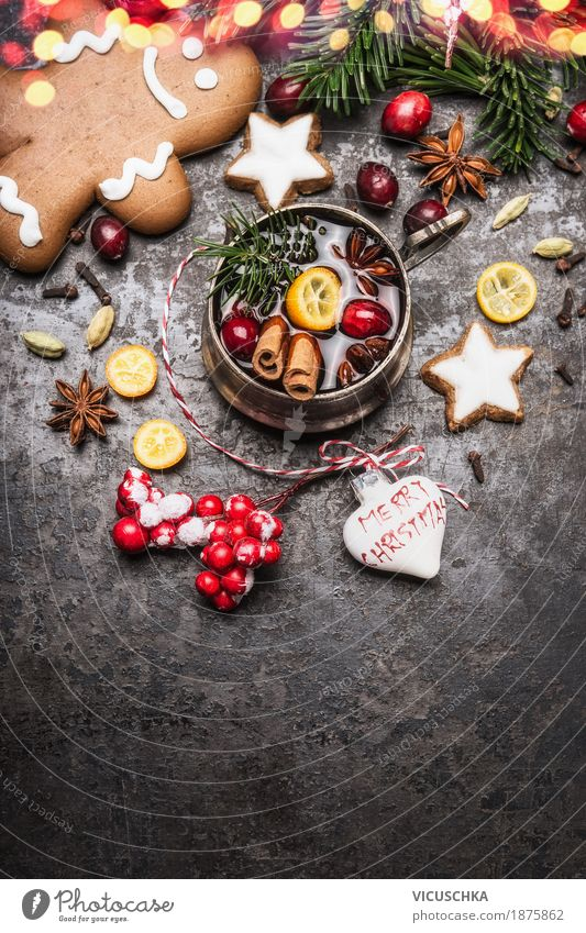 Mulled wine with spices, cookies and gingerbread man Cake Dessert Candy Nutrition Banquet Beverage Hot drink Crockery Cup Style Design Joy Winter
