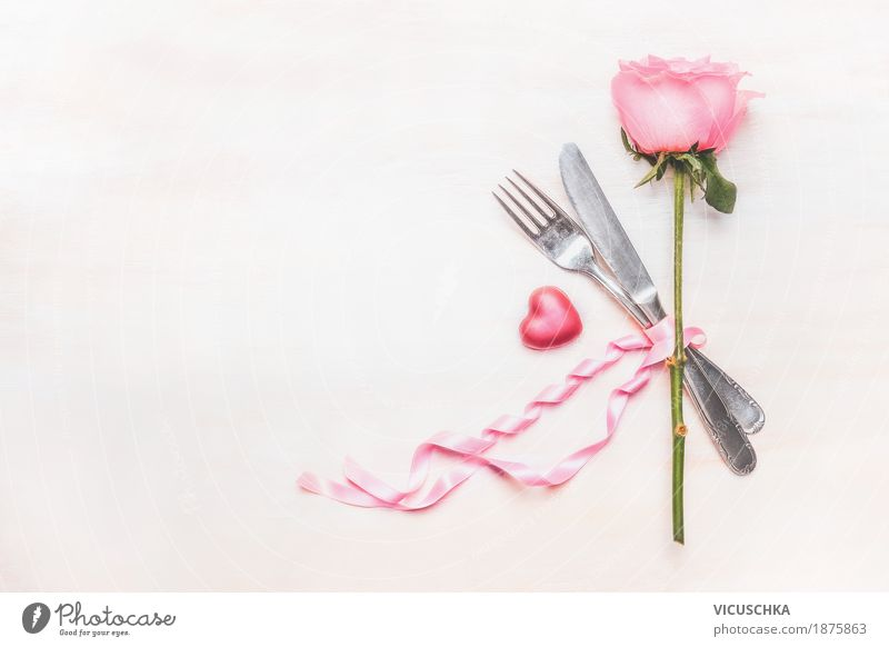 Table set with rose, cutlery, heart and ribbon Banquet Style Design Decoration Party Event Restaurant Feasts & Celebrations Valentine's Day Mother's Day Wedding