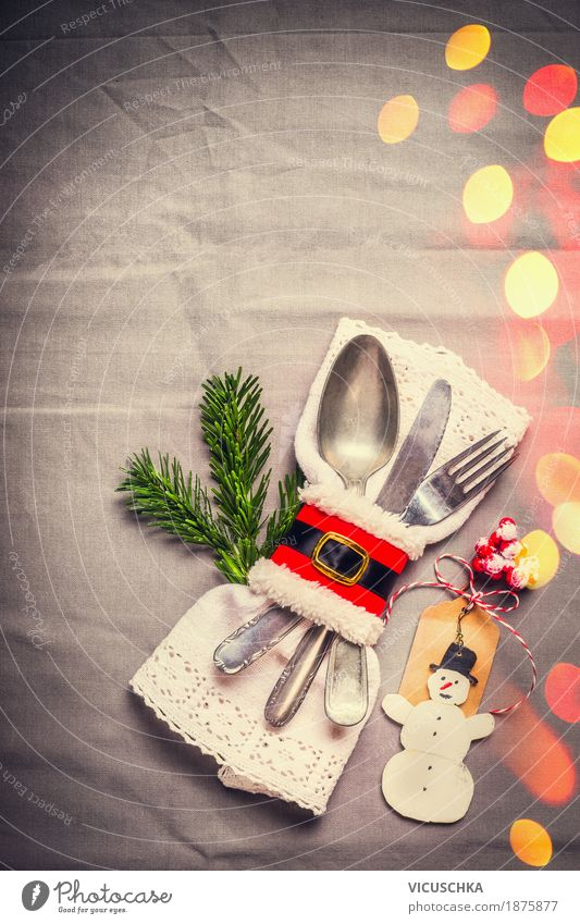 Christmas, table decoration with fir branch and snowman Banquet Cutlery Knives Fork Spoon Style Design Joy Winter Living or residing Flat (apartment) Decoration