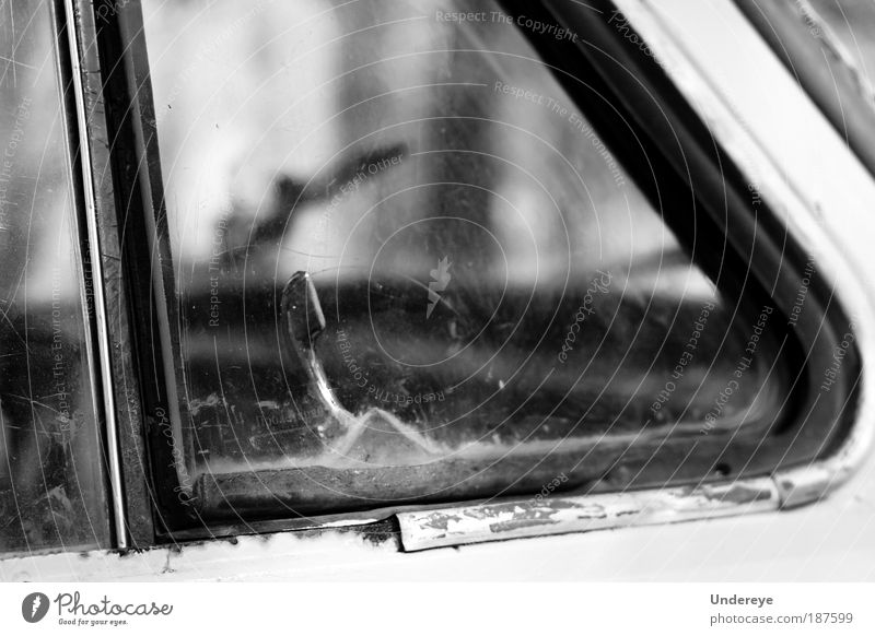 Hey! I'm here! Old Car Metal Dirty Glass Poverty Human being Black & white photo Cheap Scratch Ventilation