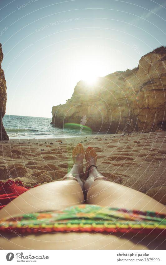 sunbath Well-being Contentment Senses Relaxation Calm Vacation & Travel Tourism Summer Summer vacation Sun Sunbathing Beach Ocean Feminine Woman Adults Legs
