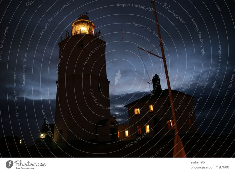 enlightenment Clouds Night sky Coast Ocean House (Residential Structure) Lighthouse North Foreland Lighthouse Navigation Optimism Protection Safety (feeling of)
