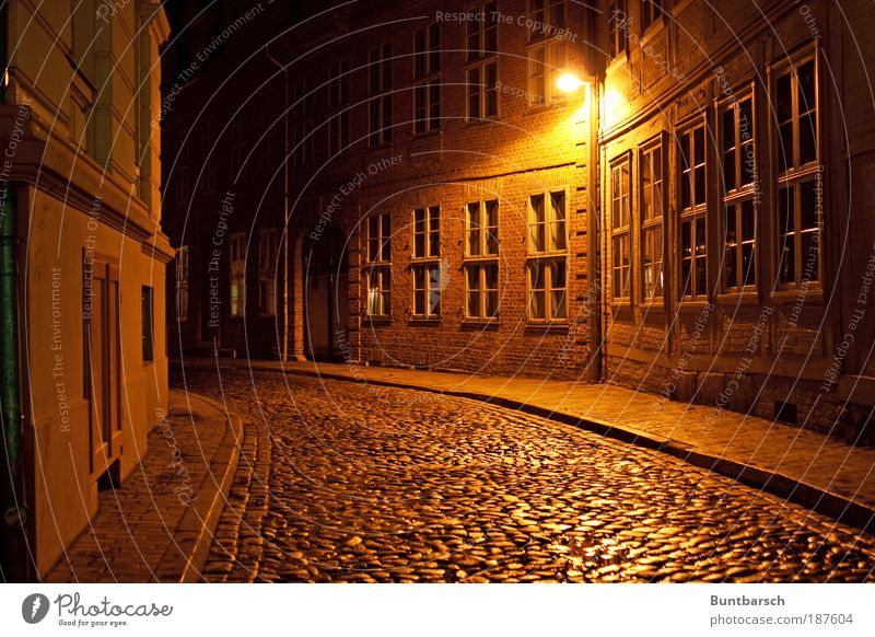 House (Residential Structure) Street Dark Window Stone Building City Night Time Facade Long exposure Brick Lantern Historic Cobblestones Downtown