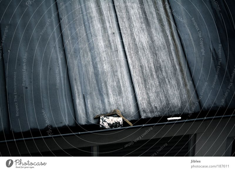 roof House (Residential Structure) Roof Eaves Metal Observe Dream Poverty Gray Uniqueness Hanger Subdued colour Exterior shot Structures and shapes