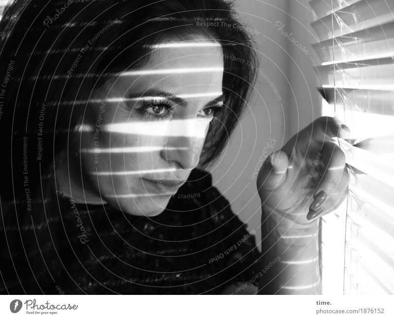 . Room Venetian blinds Feminine 1 Human being Sweater Black-haired Long-haired Observe To hold on Looking Wait Beautiful Willpower Safety Protection Secrecy