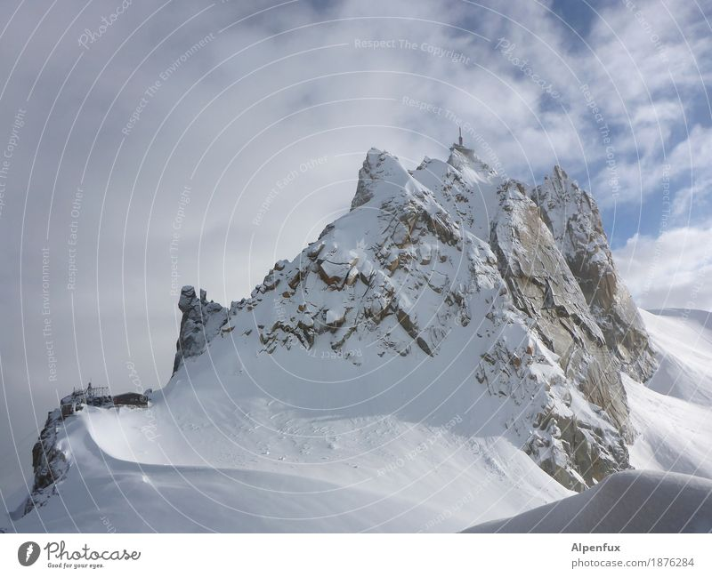 Aiguille du Midi Cosmique-Ridge Climbing Mountaineering Landscape Clouds Winter Ice Frost Snow Rock Alps Mont Blanc Peak Snowcapped peak Glacier Cold White