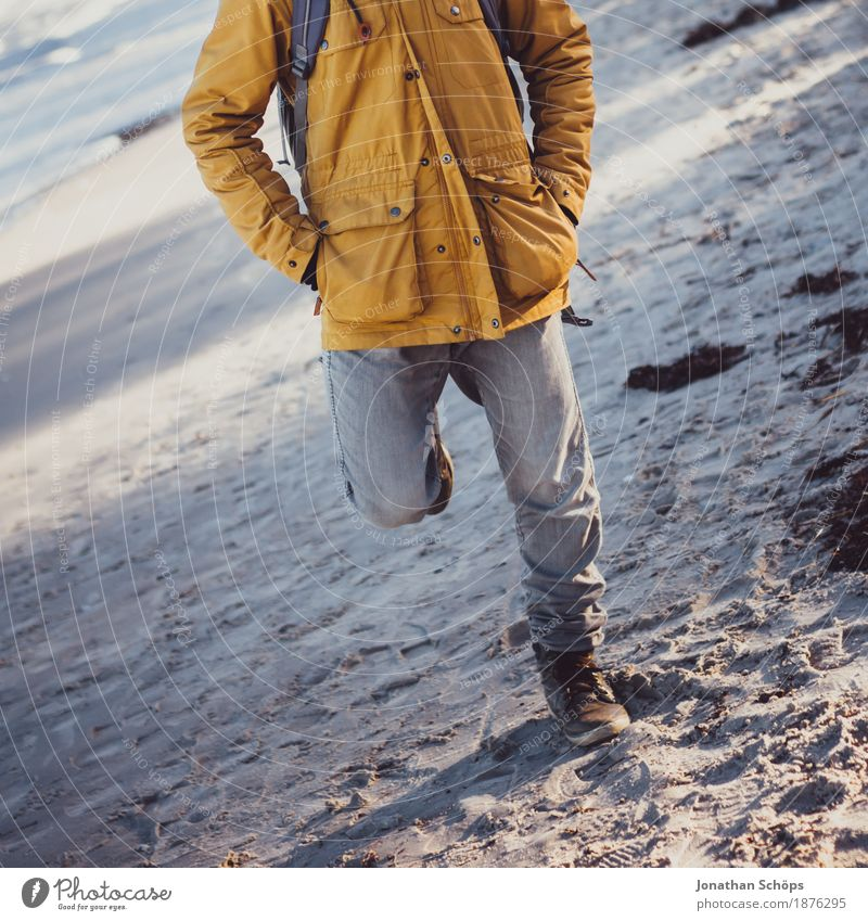 Man in Binz Human being Masculine Body Legs 1 18 - 30 years Youth (Young adults) Adults Esthetic Autumn Winter Fashion Beach Style Beige Gray Sand Blue Violet