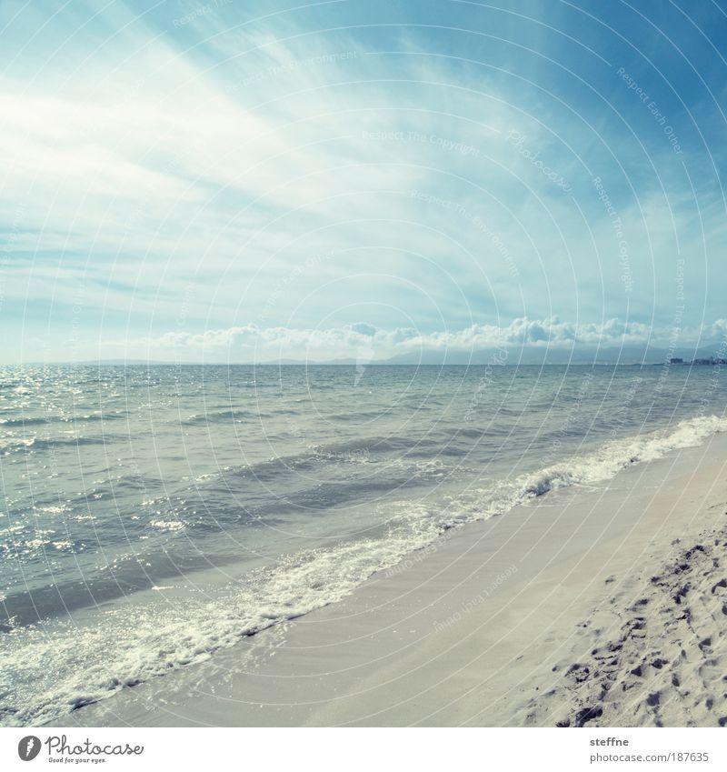 vamos a la playa Sand Water Sky Clouds Horizon Summer Beautiful weather Waves Coast Beach Ocean Mediterranean sea Majorca Relaxation Vacation & Travel