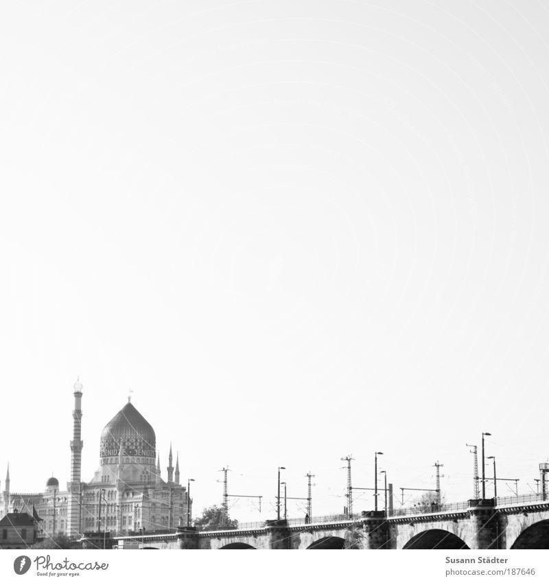 achromatic Tourism Sightseeing City trip House (Residential Structure) Dresden Castle Bridge Manmade structures Vacation & Travel Yenidze Lantern marien bridge