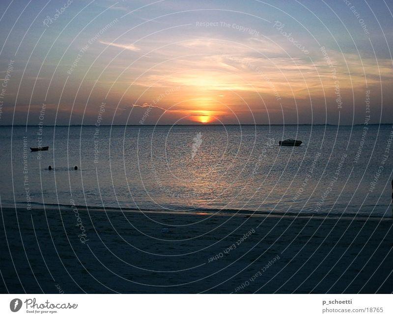 Sunset on Zanzibar Ocean Beach sea