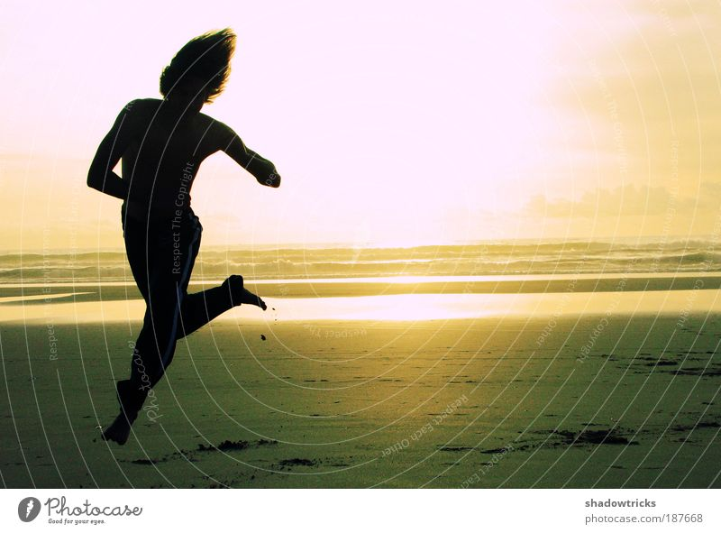 Kolja on the beach Sports Fitness Sports Training Martial arts Sportsperson Jogging Dance Playing Muscular Colour photo Exterior shot Experimental Lomography