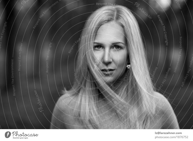 Black and white portrait of an attractive blond woman Face Woman Adults 1 Human being 18 - 30 years Youth (Young adults) Forest Blonde Concentrate