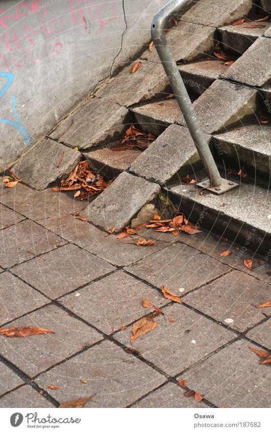 City Autumn Gray Stone Stairs Concrete Gloomy Handrail Steel Banister Upward Checkered Paving stone Grid Railing Monochrome