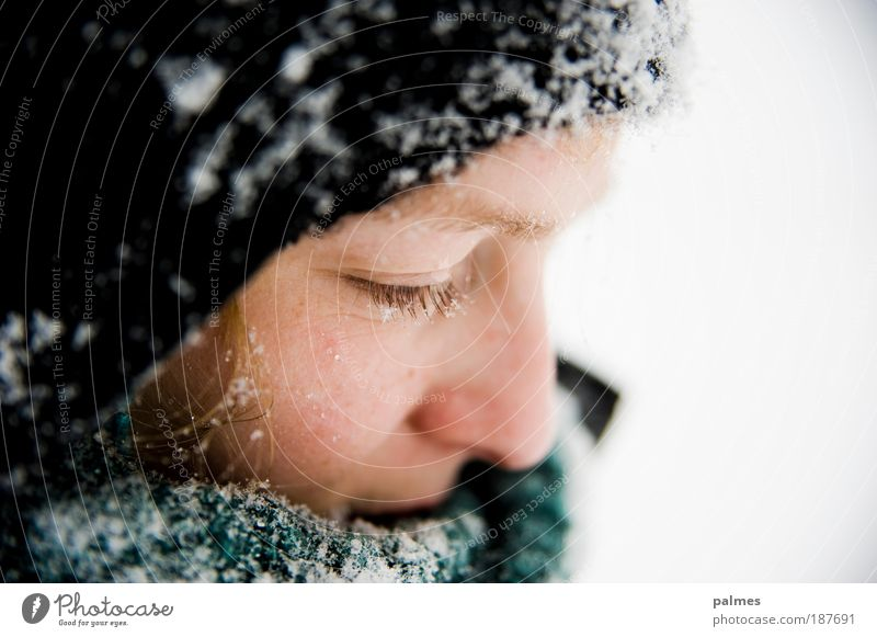 snow thoughts Face Calm Feminine Young woman Youth (Young adults) Eyes 1 Human being 18 - 30 years Adults Winter Weather Ice Frost Snow Scarf Cap Blonde Think
