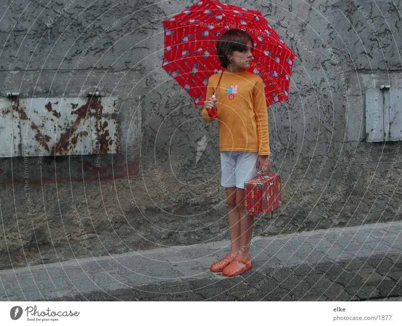 Human being Child Summer House (Residential Structure) Street Rain Umbrella Suitcase Housefront