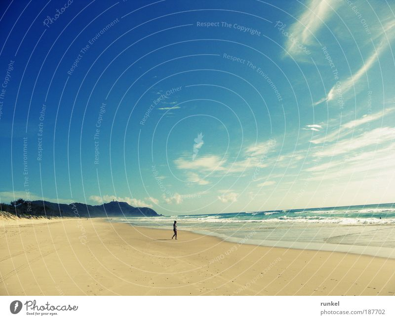 Human being Water Sun Ocean Blue Summer Beach Vacation & Travel Clouds Yellow Far-off places Relaxation Freedom Happy Sand Landscape