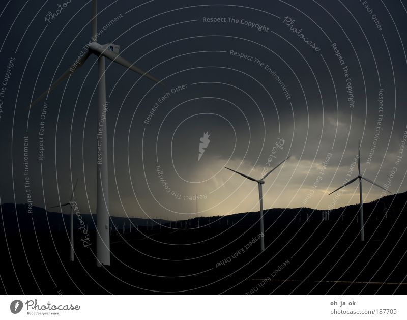Black Clouds Dark Gray Sadness Landscape Field Wind Energy Gloomy Threat Wind energy plant Hill Army Renewable energy