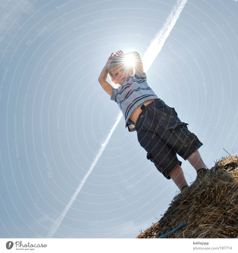 Human being Child Sky Nature Blue Sun Vacation & Travel Summer Life Environment Playing Boy (child) Warmth Weather Infancy Healthy