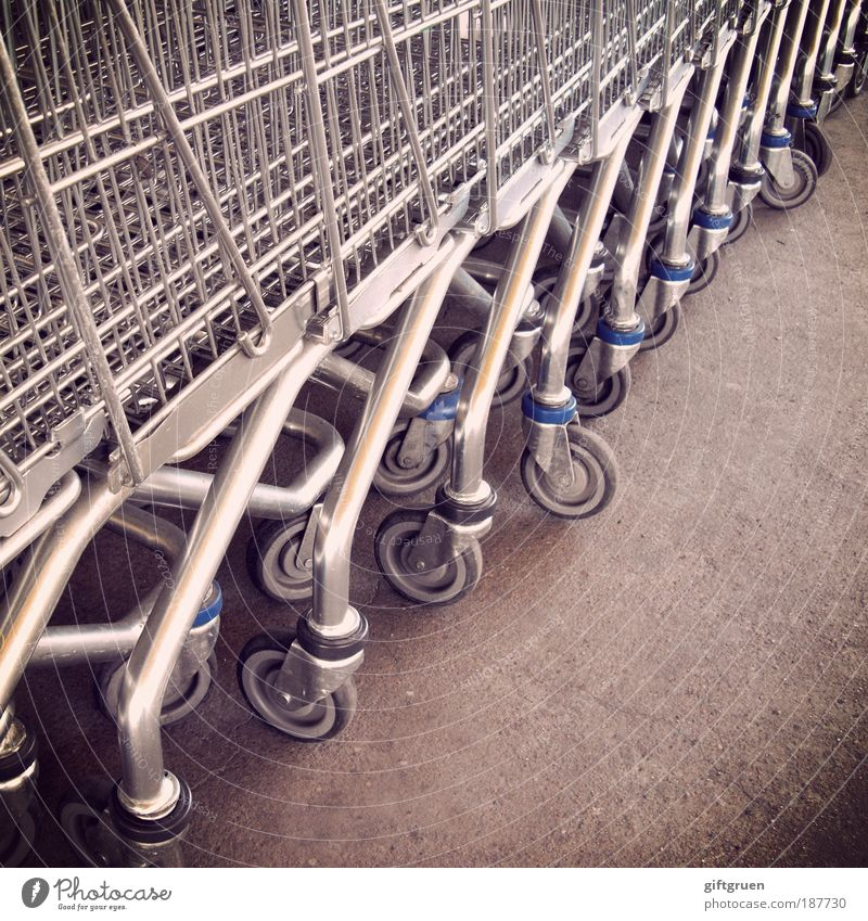 mass consumption Trade Many Shopping Trolley Consumption Supermarket Beaded Row Structures and shapes Gray Shopping malls Hypermarket Economic miracle