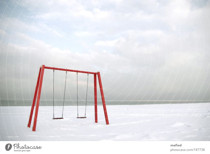 summer fun Playing Summer vacation Beach Ocean Winter Snow Sky Clouds Horizon Ice Frost Baltic Sea Gray Red White Colour photo Exterior shot Deserted