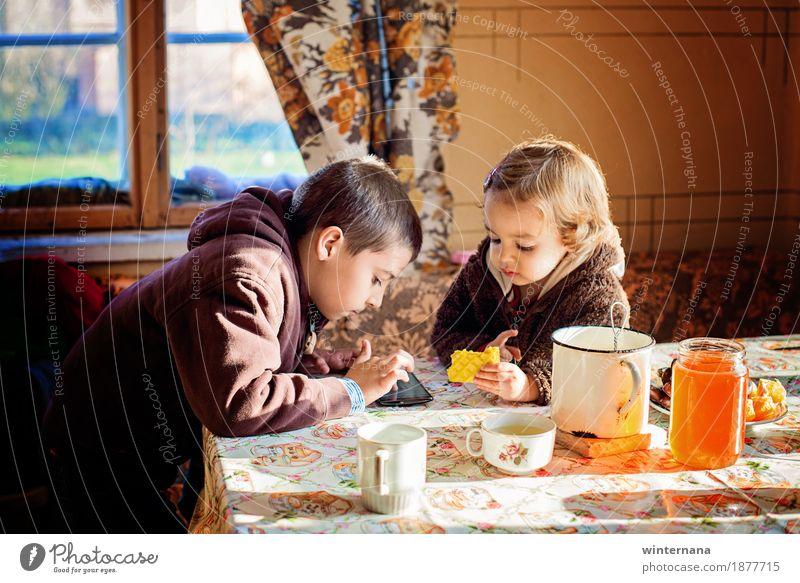 Winter tea Human being Child Girl Window Eating Life Love Boy (child) Garden Food Freedom Together Friendship Room Orange Infancy